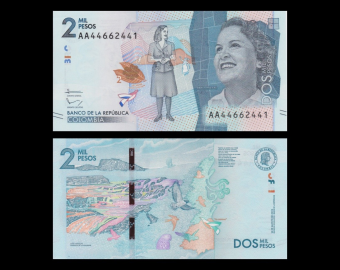 Colombie, P-458a, 2000 pesos, 2015