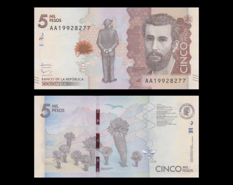 Colombie, p-459, 5000 pesos, 2015