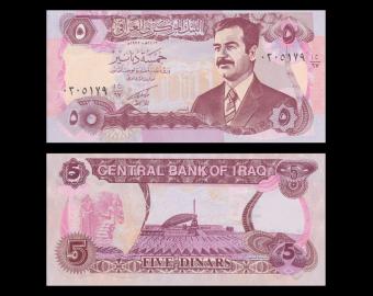Iraq, P-80a, 5 dinars, 1992
