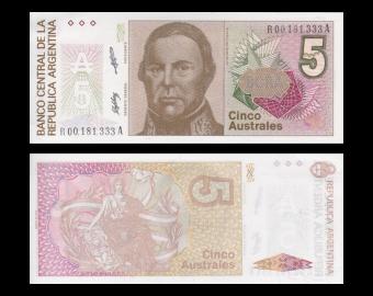 Argentina, P-324b, 5 australes, 1989