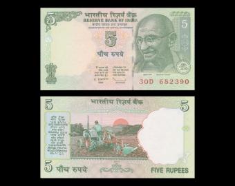 Inde, P-094Ac, 5 rupees, 2010