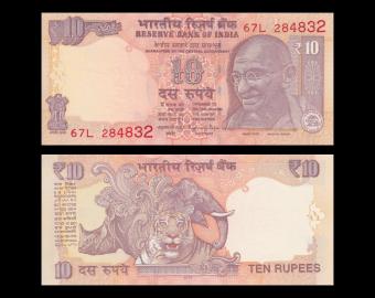 Inde, P-102z, 10 roupies, 2016