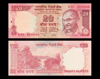 India, P-103d, 20 roupies, 2013