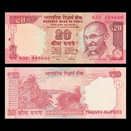 Inde, P-103d, 20 roupies, 2013