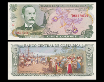 Costa Rica, P-236d, 5 colones, 1989, SPL / A-UNC