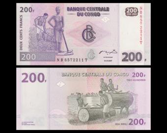 Congo, P-099a, 200 francs, 2007