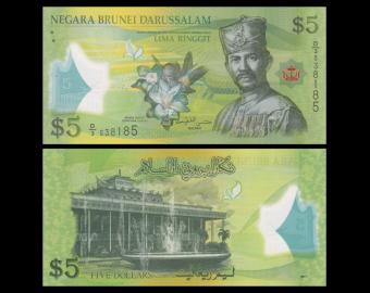 Brunei Darussalam, p-36, 5 ringgit, Polymère, 2011