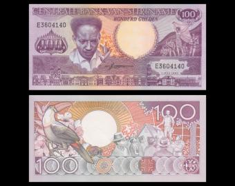 Suriname, P-133a1, 100 gulden, 1986