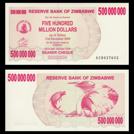 Zimbabwe, P-60, 500.000.000 dollars, 2008