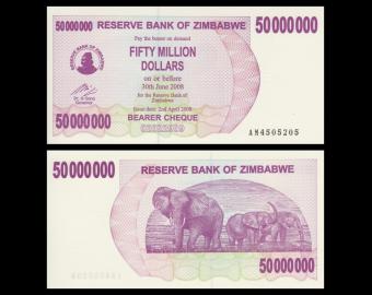 Zimbabwe, P-57, 50.000.000 dollars, 2008, SPL / A-UNC