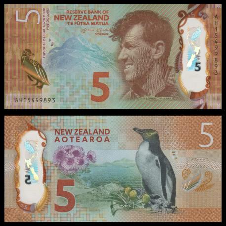 New Zealand, p-191, 5 dollars, 2015