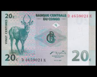 Congo, P-83, 20 centimes, 1997