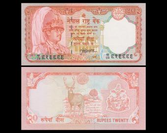 Nepal, P-38b, 20 roupies, 1995-2000