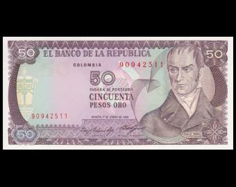 Colombie, P-425a2, 50 pesos oro, 1985