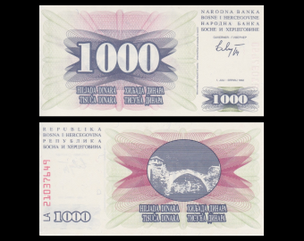 Bosnia and Herzegovina, P-15, 1000 dinara, 1992