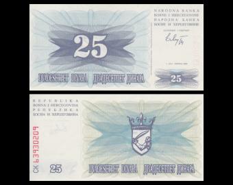 Bosnia and Herzegovina, P-11, 25 dinara, 1992