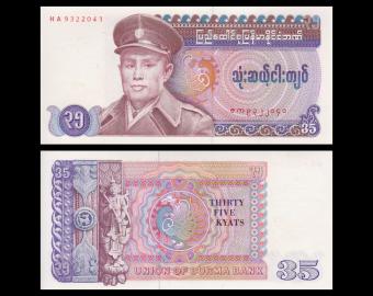 Burma, P-63, 35 kyats, 1986
