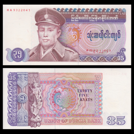 P-63, 35 kyats, 1986