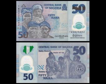 Nigéria, P-40f, 50 naira, 2016, Polymère