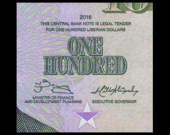 Liberia, P-35a, 100 dollars, 2016