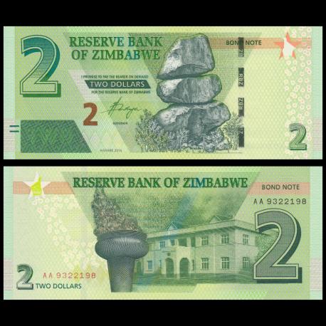 Zimbabwe, P-99, 2 dollars, 2016