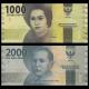 Indonésie, P-154 155, lot 2 billets, 3000 rupiah, 2016