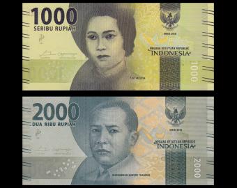 Indonesia, P-154 155, lot 2 banknotes, 3000 rupiah, 2016