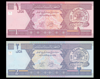 Afghanistan, lot de 2 billets, 2002