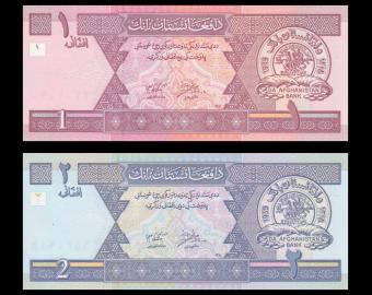 Afghanistan, P-64a 65a, lot de 2 billets, 3 afghanis, 2002