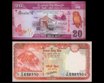 Lot 2 billets 20 roupies : Nepal, p-New, 2016 + Sri Lanka, p-123b, 2015