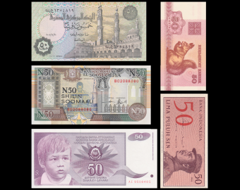 Lot 5 banknotes of 50 : Belarus, Indonesia, Egypt, Somalia & Yugoslavia