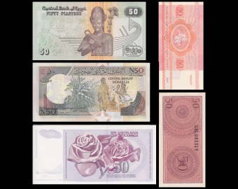 Lot 5 billets de banque de 50 : Bielorussie, Indonesie, Egypte, Somalie & Yougoslavie