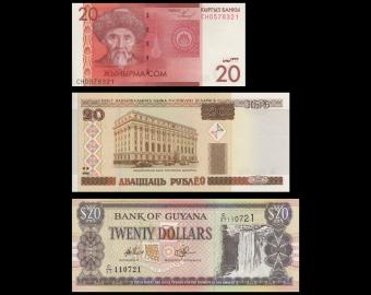 Lot 3 billets de banque de 20 : Biélorussie, Guyana & Kirghizistan