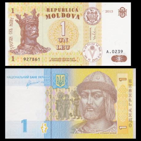 Lot 2 billets de banque de 1 : Moldavie & Ukraine