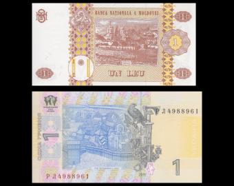 Lot 2 banknotes of 1 : Moldova & Ukraine