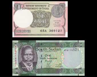 Lot 2 banknotes of 1 : India & SuothSudna