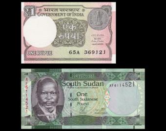 Lot 2 billets de banque de 1 : Inde & SudSuodan
