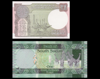 Lot 2 billets de banque de 1 : Inde & Soudan du Sud