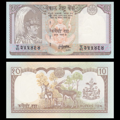 Nepal, P-31b1, 10 roupies, 1990-2000