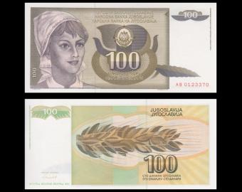 Yugoslavia, P-108, 100 dinara, 1991