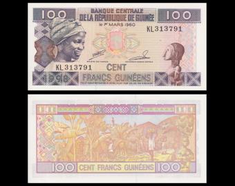 Guinée, P-35a2, 100 francs, 1998