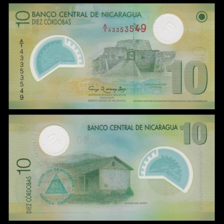 Nicaragua, p-201b, 10 cordobas, polymère, 2007