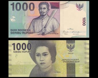 Indonésie, P-141j+154, lot 2 billets de 1000 rupiah, 2009 2016