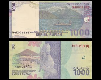 Indonésie, lot 2 billets, P-141j+154, rupiah, 2009 2016