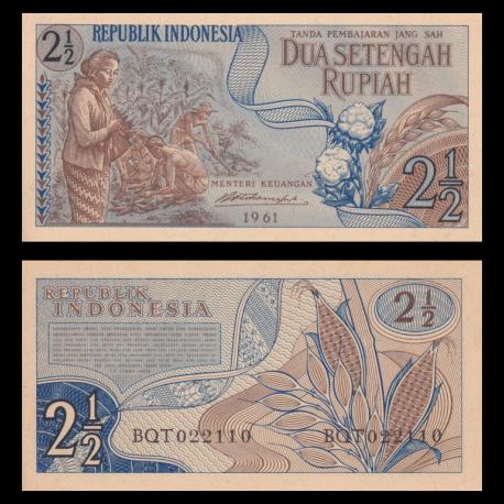 Indonésie, P-079, 2.5 rupiah, 1961