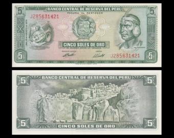 Peru, P-099g, 5 soles de oro, 1974, Presque Neuf / A-UNC