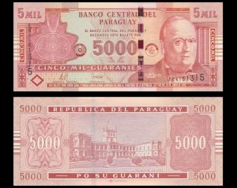 Paraguay, p-223b, 5000 guaranies, 2008