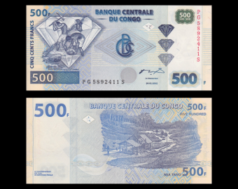 Congo, P-new, 500 francs, 2002