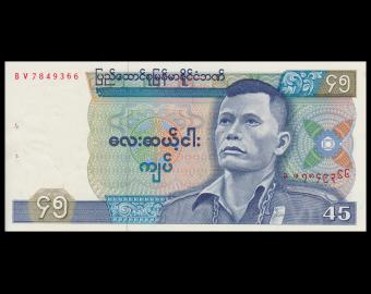 Burma, P-64, 45 kyats, 1987