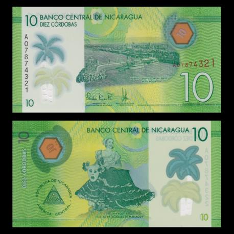 Nicaragua, p-209, 10 cordobas, polymère, 2014